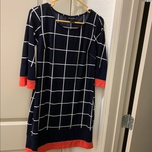 Size 6 Navy, White, and Coral Dress